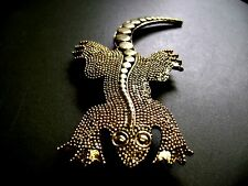 "NEW OLD STOCK- GOLD TONE LARGE TEXTURED ""LIZARD""   BROOCH!!!!"