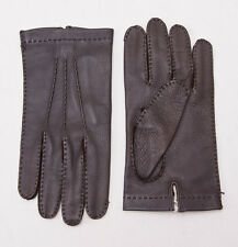 NWT $595 BRIONI Suede-Lined Brown Grained Calf Leather Gloves 8.5 (M) + Box