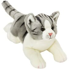 Suki Yomiko Classics Medium Plush Life Like Grey & White Tabby Resting Cat Gift