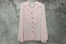 Chanel 15B Pink Crepe De Chine Pleated Blouse Size 44 NWT $3,200