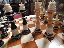 Complete Chess Set Hand Carved In Bone & Wood Collectors Vintage Large King 15cm