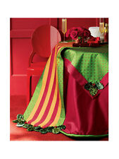 "Mackenzie Childs HOLLY & BERRIES 90"" ROUND SILK TABLECLOTH NEW $260"