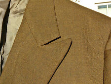 Vtg 60's Olive Brown Peak Lapel D/B Sport Coat 36 S or R USA Mod Ticket Pocket