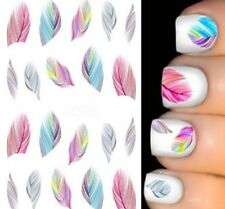 Feathers Colorful Full Nail Art Water Transfer Decal Decoration Stickers STZ-002