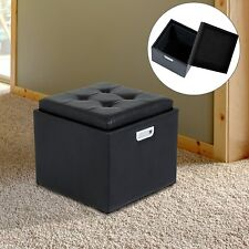 HOMCOM Faux Leather Storage Ottoman Foot Stool Multi-function Seat w/ Handle BK