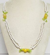 """Vintage 60's Long 30"""" Flower Leaf Plastic Pearl Bead Necklace Yellow Green White"""