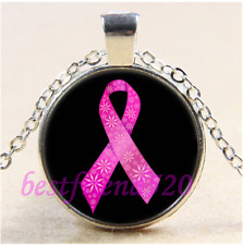 Breast Cancer Ribbon Cabochon Glass Tibet Silver Chain Pendant Necklace#J26