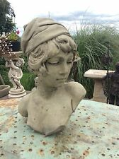 Stone Garden Bust Of Beautiful Young Girl Ornament Statue