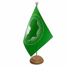 """AFRICAN UNION TABLE FLAG 9""""X6"""" WITH WOODEN BASE FLAGS AFRICA"""