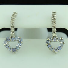 14k White Gold Round Diamond and Tanzanite Drop Dangle Heart Post Earrings