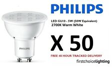 50 x Philips 5W (50W) Low Energy GU10 LED Spot Lamps Bulbs Warm White 2700K