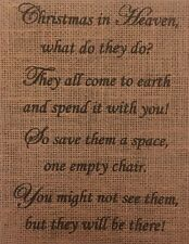 "Primitive Christmas In Heaven Burlap Banner Panel Sign Inspirational Poem 8""x10"""