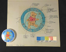 Disneyland Production Art & Button Mock Up c1970 Winnie the Pooh & Gang
