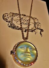 KIRKS FOLLY **RARE** 3D CARVED CRYSTAL SEAVIEW MOON LOCKET PENDANT NECKLACE  QVC