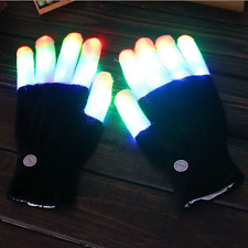 1Pair Knitting Luminous LED Colorful Flashing Light Up Finger Gloves Party FR