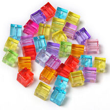 100pcs Mixed Color Plastic Squares Charms Spacer Bead Jewelry Making Findings C