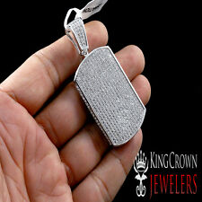 UNISEX WHITE GOLD FINISH ID MINI DOG TAG LAB DIAMOND ICED OUT CHARM PENDANT 3D
