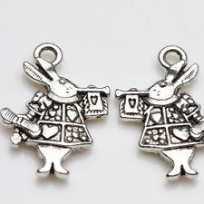 10Pcs Alice in Wonderland Tibet Silver Rabbit Charms Pendant Jewelry Findings