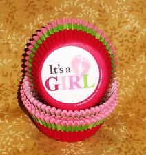 It's a Girl Pink Cupcake Papers,Baby Shower,Wilton,75 Ct.Multi-Color,Bake Cup