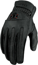 ICON 1000 Rimfire Short Gauntlet Leather Motorcycle Gloves (Black) L (Large)