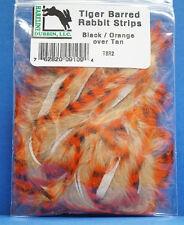 Tiger Barred Rabbit Hareline TSR2 Black Barred Black - Orange over Tan