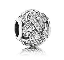 GENUINE AUTHENTIC PANDORA SILVER SHIMMERING LOVE KNOT CHARM 791537CZ