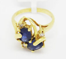 Vintage 18k Yellow Gold 2.00TCW Oval Sapphires w/ Diamonds  Ring Size 5.75