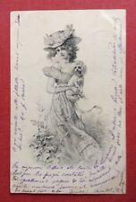 CPA. 1903. Jeune Femme. Chien. Caniche?. Style Viennois. Charmante Tenue.