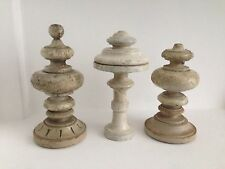 3 Large Antique French Painted Turned Wood Finials