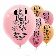 "Minnie Mouse 1st Birthday 30cm Latex Balloons ""What Fun, I'm One!""  6ct"