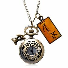 Alice In Wonderland With Rabbit Necklace Chain Drink Me Quartz Pocket Watch Gift