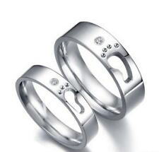 11 Men Love's footsteps Titanium Steel Promise Ring Couple Wedding Lover gift