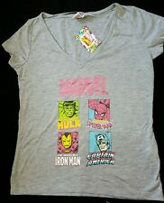 CHARMING MARVEL DC COMICS SUPER HEROES LADIES GREY MARL TSHIRT BNWT 10 PRIMARK