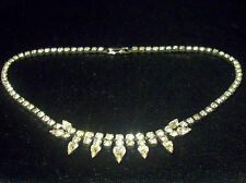 "Vintage Silver Tn Sherman Signed 15 7/8"" Long Sparkling Clr Rhinestone Necklace"