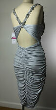 NWT FAVIANA COUTURE Gray Silver Beaded Stretch Formal Prom Cocktail Dress Small