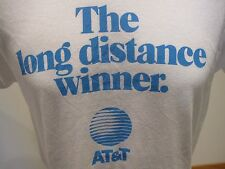 Vtg 80s AT&T The Long Distance Winner T Shirt 50/50 Soft 50/50 XS White Phone