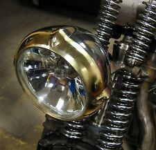 "LOW VINTAGE EARED SOLID BRASS & ALLOY 5.5"" HEADLIGHT HARLEY XS650 BOBBER CHOPPER"