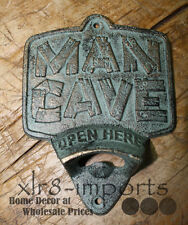 Cast Iron MAN CAVE Plaque OPEN HERE Beer Bottle Opener Rustic Wall Mount