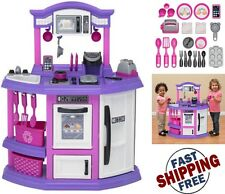 Pretend Play Kitchen Set for Kids Cooking Bake Food Toy For Girls Pink Playset
