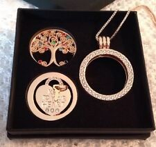 "Mi Moneda style rose gold pendant gift set ""Family Tree/Key To My Heart"""