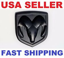 3D DODGE RAM HEAD MATTE BLACK EMBLEM LOGO BADGE FRONT HOOD TRUNK GRILLE FENDER