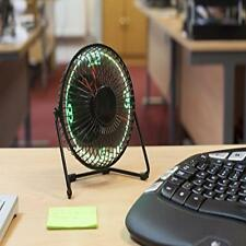 "Cool Office Gadget 360 Degree Rotation 6"" Desktop Integrated Usb Led Clock Fan"