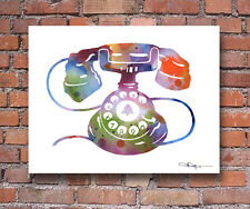 Vintage Telephone Abstract Watercolor Art Print by Artist DJ Rogers
