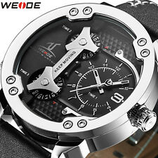 New WEIDE Brand Luxury Men Watch Genuine Leather 3 Time Zones Quartz Wristwatch