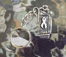 SPORTS 2 LUNG CANCER GOLF BAG AWARENESS WHITE PEWTER RIBBON KEY CHAINS All New.