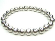 NATURAL GIBEON IRON NICKEL METEORITE 6MM 30 BEADS BRACELET 7""