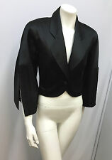 VINTAGE GIANFRANCO FERRE JACKET HEAVILY BROCADE SLEEVES BLACK SILK SATIN 40 S