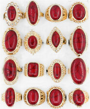 10Pcs Wholesale Lot Red Turquoise Rhinestone Rings Antique Gold Plated Jewelry
