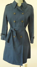 Miu Miu French cotton trench coat classic mac jacket size 40 US 4 Blue EUC!