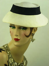 VINTAGE HAT 1950s FRENCH, LADIES DAY HAT, WHITE LINEN w NAVY BLUe RIBBON TRIM